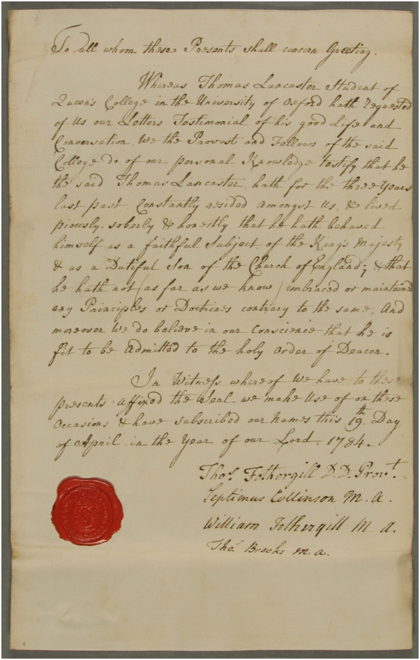 Image of the Letters Testimonial for Thomas Lancaster, ordinand. Ref: DDR/EA/CLO/3/1783/4.