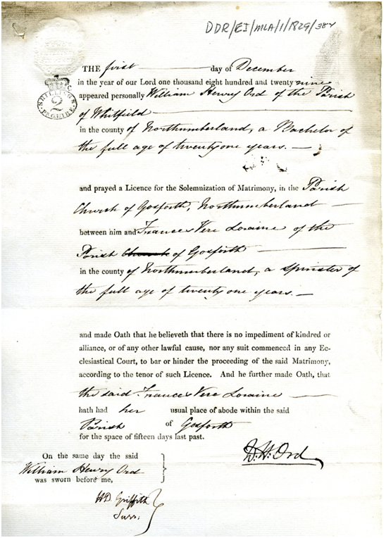 Marriage licence allegation, Ord/Loraine, 1/12/1829